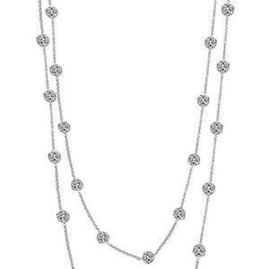 "Jewelry - 9.30 Ct diamonds by yard necklace double 18""/16"" i"